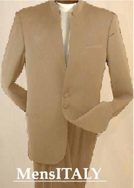 SKU#TAN7916 Split Collar Highest Quality Mens Tan Mandarin Collar Two Button Suit $249