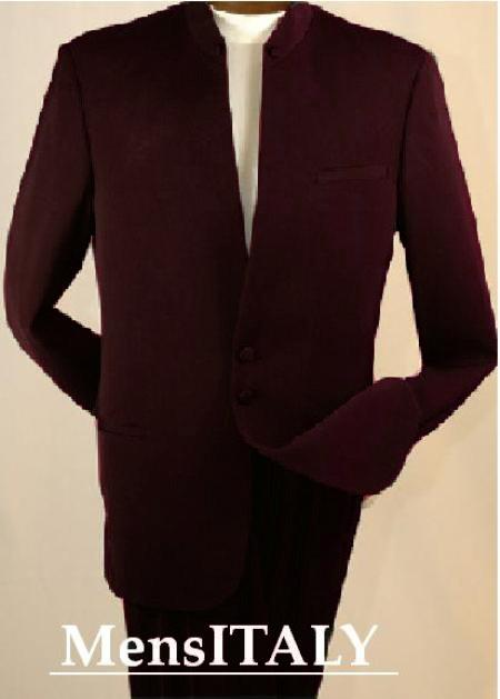 SKU#UYW8113 Split Collar Highest Quality Men Brown Mandarin Collar Two Button Suit $149