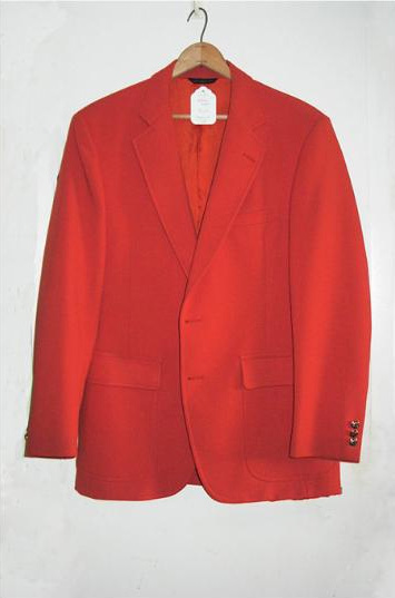 SKU#ORG8912 Mans Bright Orange 1970s Sport Coat $100