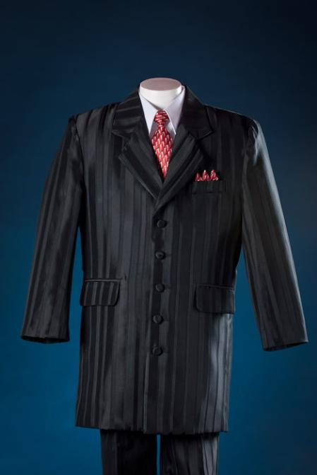 New 1940's Style Zoot Suits for Sale Black Shadow Stripe 5 Piece Zoot KidsToddlerBoy Suits White Shirt $100.00 AT vintagedancer.com