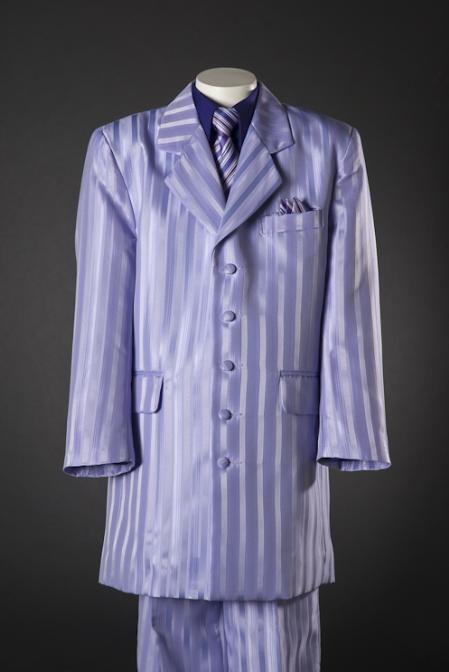 1940s Men's Suit History and Styling Tips Lilac Shadow Stripe 5 Piece Zoot KidsToddlerBoy Suits Purple Shirt $100.00 AT vintagedancer.com