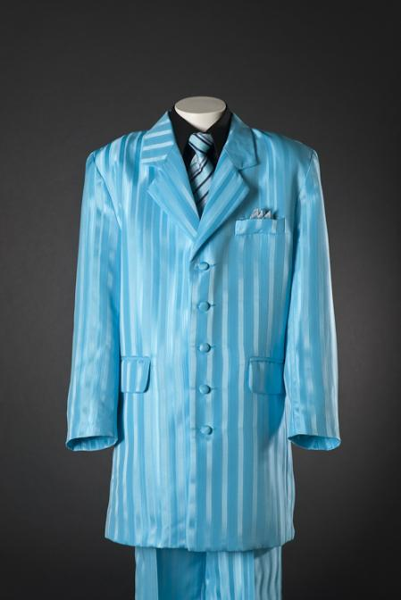 1940s Men's Suit History and Styling Tips Blue Shadow Stripe 5 Piece Zoot KidsToddlerBoy Suits Black Shirt $100.00 AT vintagedancer.com