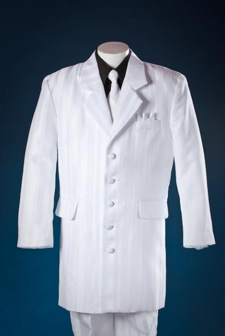 SKU#WHT7666 White Shadow Stripe ~ Pinstripe 5 Piece Zoot Kids-Toddler-Boy Suits (Black Shirt) $100