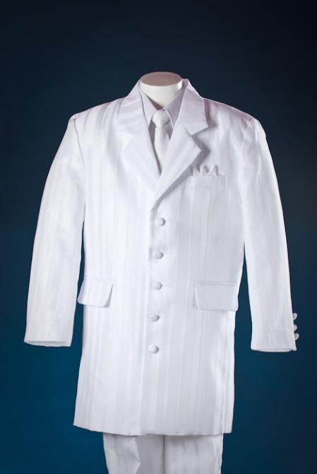 New 1940's Style Zoot Suits for Sale White Shadow Stripe 5 Piece Zoot KidsToddlerBoy Suits White Shirt $100.00 AT vintagedancer.com