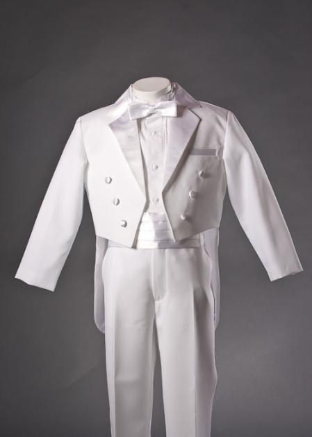 SKU#FGH667 Kids-Toddler-Boys White Tuxedo with Tails with Bow Tie and Cummerbund Sets $99