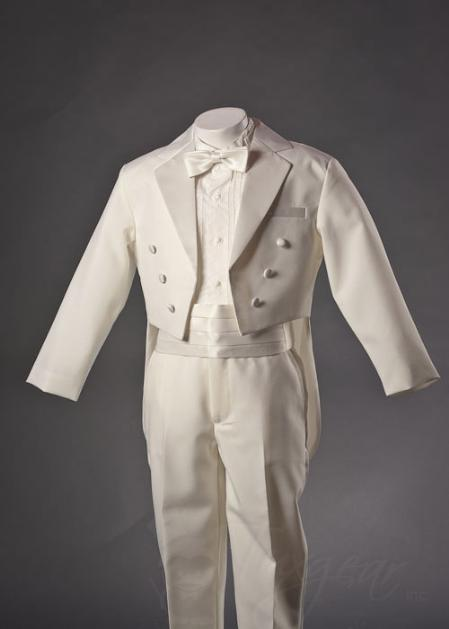 SKU#IVR5124 Kids-Toddler-Boys Ivory Tuxedo with Tailcoat with Bow Tie and Cummerbund Set $99