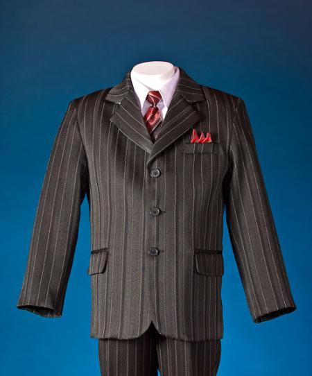 SKU#TEW3322 Black patterned 5 Piece Kids-Toddler-Boy Suits $99