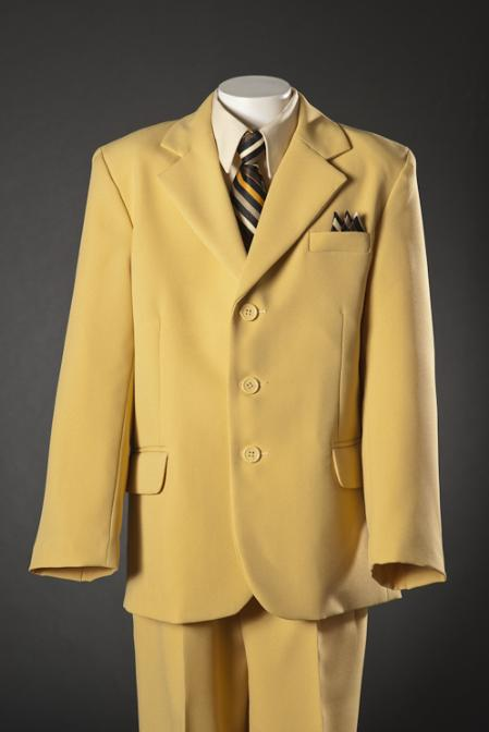 SKU#MUR696 3 Button Kids-Toddler-Boy Suits - Summer Collection Mustard $99