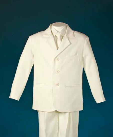 SKU#HNS665 Kids-Toddler-Boy Suits - Summer Collection 3 Button Ivory