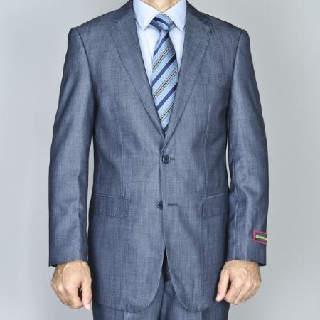 SKU#BLY801 Mens Denim Blue 2-Button Side Vented Jacket & Flat Front Pants Suit $175