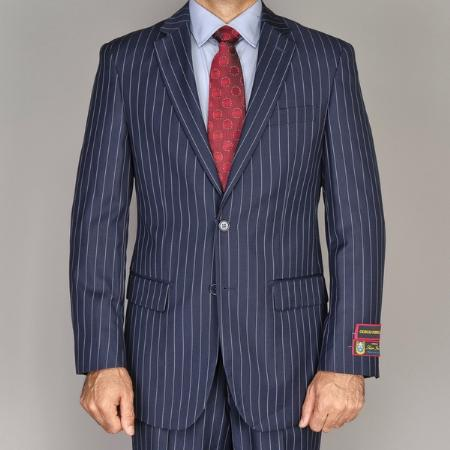SKU#PNA611 Mens Side Vented Jacket & Flat Front Pants Navy Blue Pinstripe 2-Button Suit