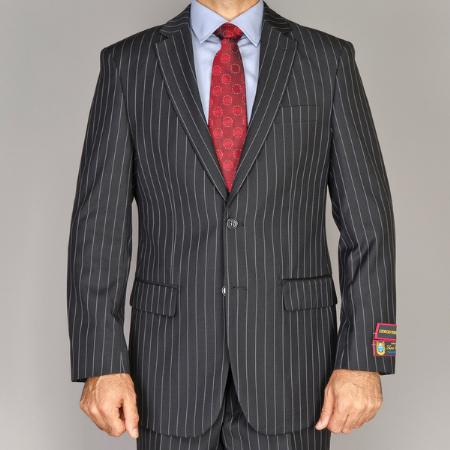 SKU#FGD433 Men's Side Vented Jacket & Flat Front Pants Black Pinstripe Suit