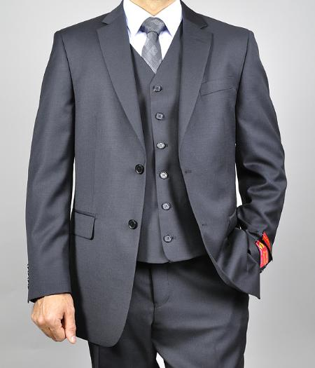 SKU#UKX791 Mantoni Mens Black Vested Wool Shadow Ton on Ton Peak Lapel Suit $175