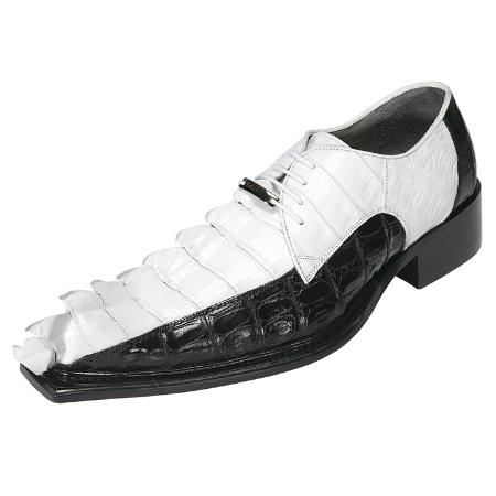 MensUSA.com Mens Crocodile Shoes by Belvedere White Black Zeno(Exchange only policy) at Sears.com