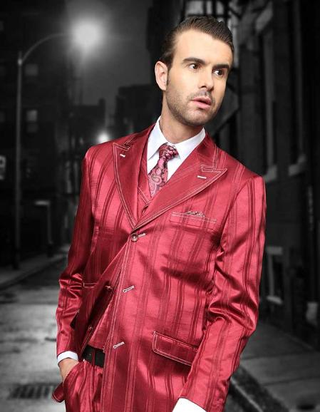 SKU#WFS1012 Burgundy Shadow Ton on Ton Peak Lapel Fashion Suit 3pc with Vest & Wide Leg Pants $199