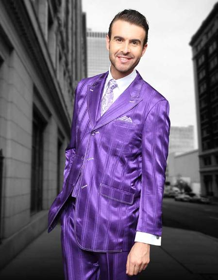SKU#KLA2913 Purple Shadow Ton on Ton Peak Lapel Fashion Suit 3pc with Vest & Wide Leg Pants $139