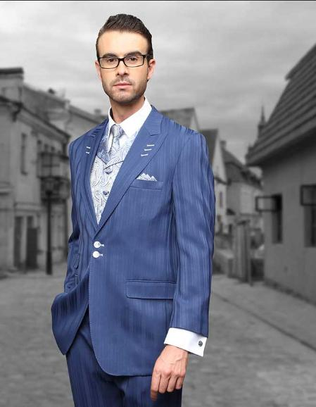 SKU#QAG15 Indigo Shadow Ton on Ton Peak Lapel Fashion Suit 3pc with Vest & Wide Leg Pants $199