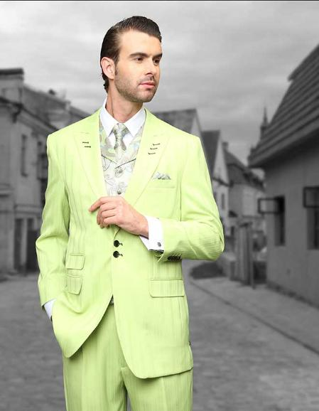 SKU#DFH92 Mint Shadow Ton on Ton Peak Lapel Fashion Suit 3pc with Vest & Wide Leg Pants $199