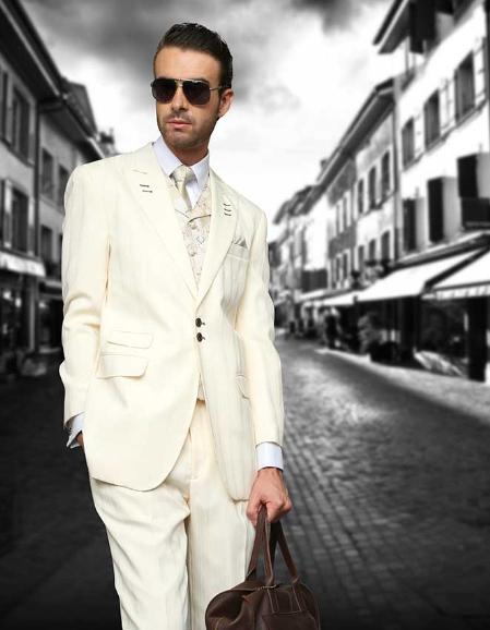 SKU#FMW89 Off-white Shadow Ton on Ton Peak Lapel Fashion Suit 3PC with Vest & Wide Leg Pants $199