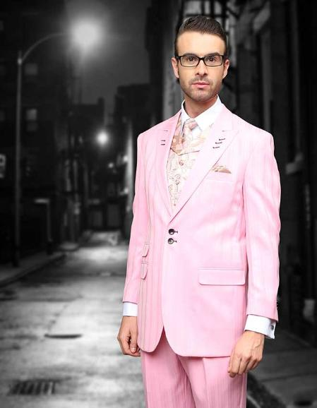 SKU#PZ212 Pink Shadow Ton on Ton Peak Lapel Fashion Suit 3PC with Vest & Wide Leg Pants $199