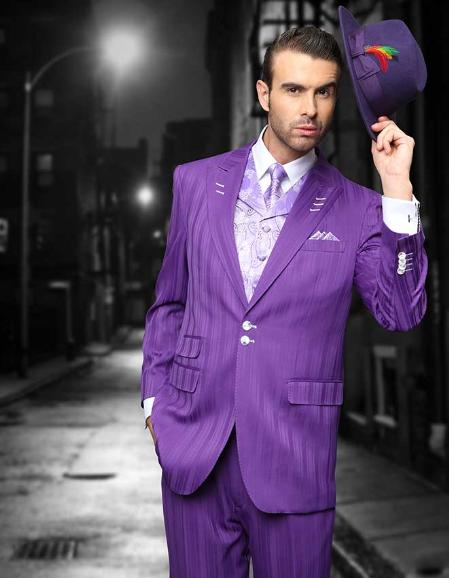 SKU#KAA81 Purple Shadow Ton on Ton Peak Lapel Fashion Suit 3PC with Vest & Wide Leg Pants $199