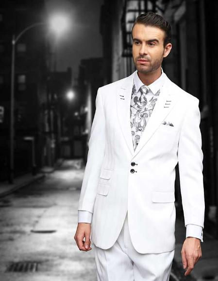 SKU#WHT591 White Shadow Ton on Ton Peak Lapel Fashion Suit 3PC with Vest & Wide Leg Pants $199