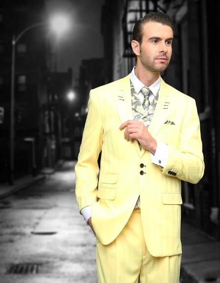 SKU#EAQ142 Yellow Shadow Ton on Ton Peak Lapel Fashion Suit 3PC with Vest & Wide Leg Pants $159