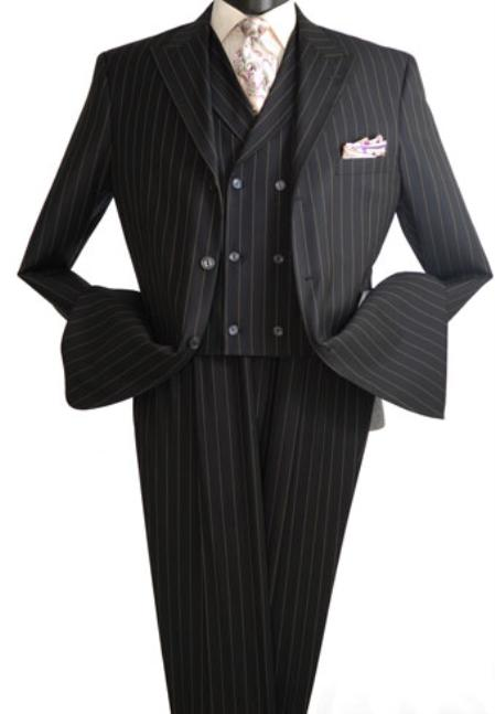 SKU#NAQ24 Vittorio St. Angelo 3 Piece Wide Stripe Wide Leg Fashion Suit Black $139