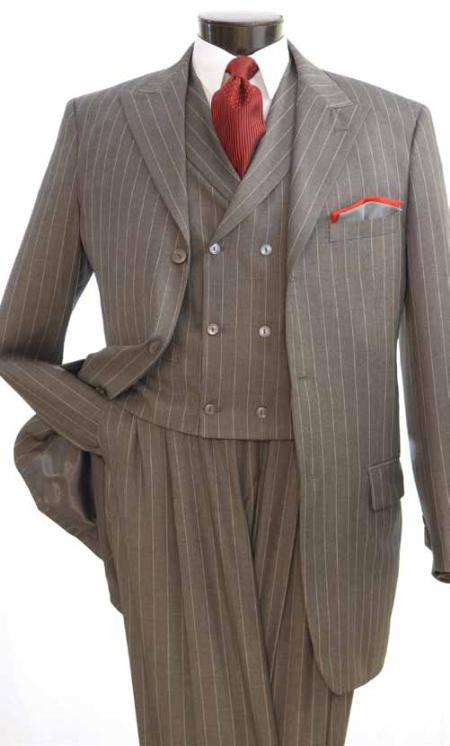 SKU#NQ1212 Vittorio St. Angelo 3 Piece Gray Stripe Wide Leg Fashion Suit $139