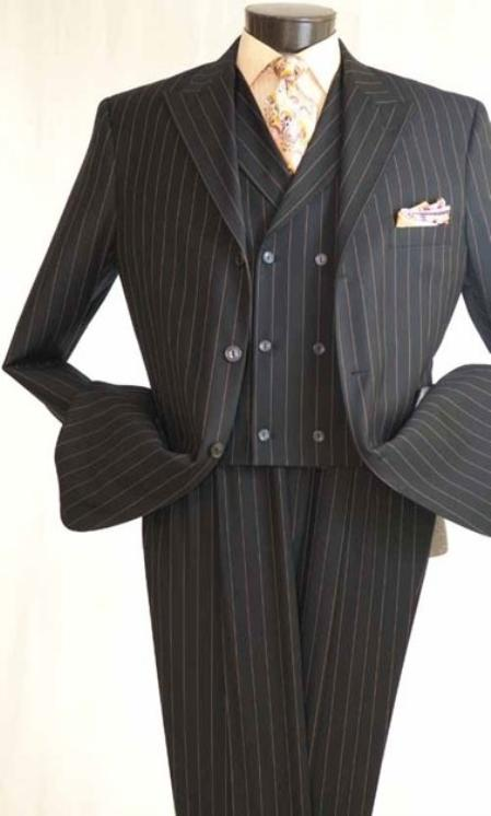 SKU#CHS691 Vittorio St. Angelo 3 Piece Charcoal Stripe Wide Leg Fashion Suit $139