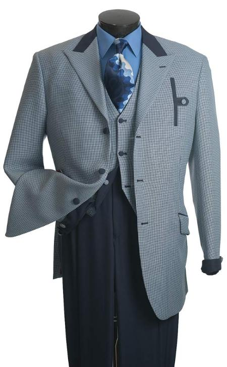 SKU#EW123 Vittorio St. Angelo Mens Blue Houndstooth Reversible Vest Fashion Suit $139