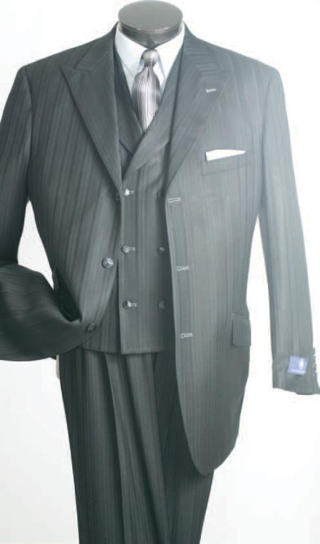 SKU#QMZ56 Vittorio Grey Shadow Stripe Fashion Suit $139