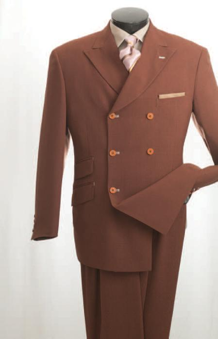 SKU#RU45 Vittorio St. Angelo Mens Rust Double Breasted Fashion Suit $139