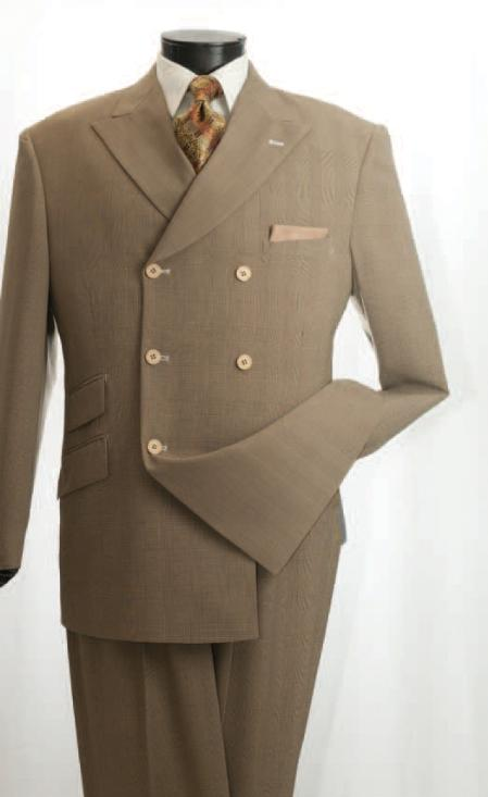 SKU#MWQ12 Vittorio St. Angelo Mens Mustard Double Breasted Fashion Suit $139