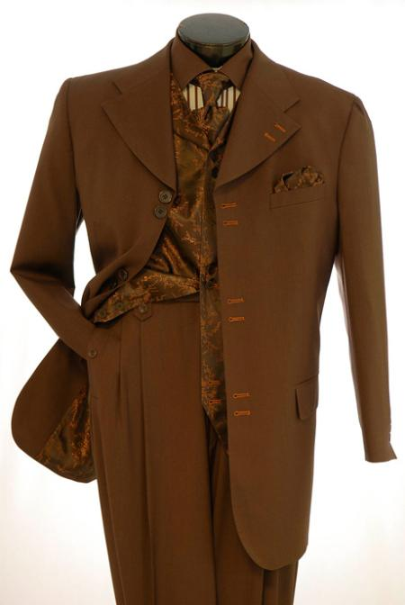 SKU#RF811 Vittorio St. Angelo Brown Fancy Vest Mens Fashion Suits $139