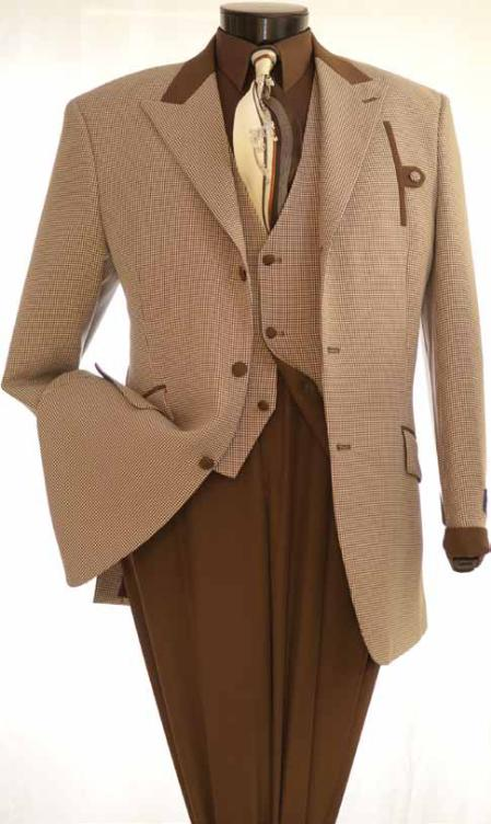 SKU#KW21 Vittorio St. Angelo Mens Brown Houndstooth Reversible Vest Fashion Suit $139