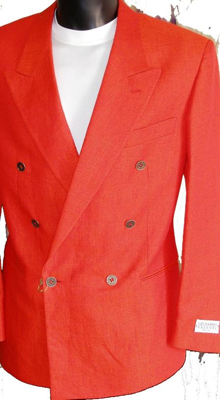 SKU#WFX71 Red Jacket / Blazer / Sportcoat 100% Linen  Double Breasted Made in Italy $149