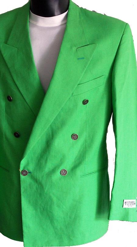 SKU#GRN8123 Green Jacket / Blazer / Sportcoat 100% Linen Double Breasted Made in Italy $149