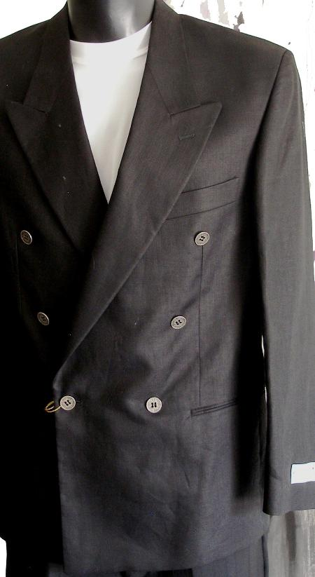 SKU#BKA22 Black Jacket / Blazer / Sportcoat 100% Linen Double Breasted Made in Italy $149