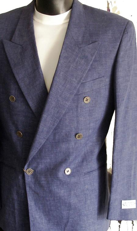 SKU#ZA42 Blue Jeans Jacket / Blazer / Sportcoat 100% Linen Double Breasted Made in Italy $149