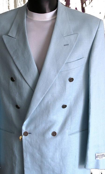 SKU#WC41 Powder Blue  Jacket / Blazer / Sportcoat 100% Linen Double Breasted Made in Italy $149