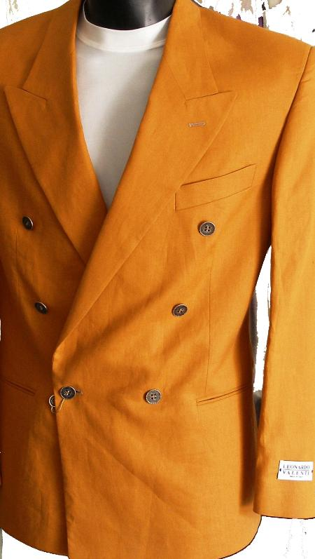 SKU#NQ012 Rust Jacket / Blazer / Sportcoat 100% Linen Double Breasted Made in Italy $149
