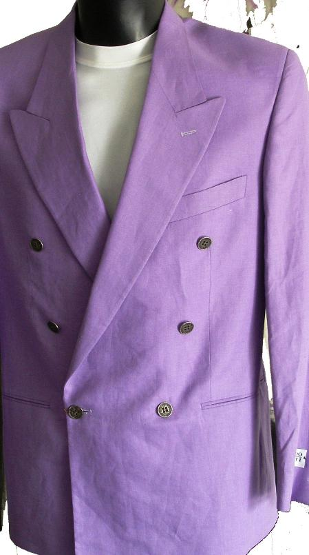 SKU#LA51 Lavender Jacket / Blazer / Sportcoat 100% Linen Double Breasted Made in Italy $149