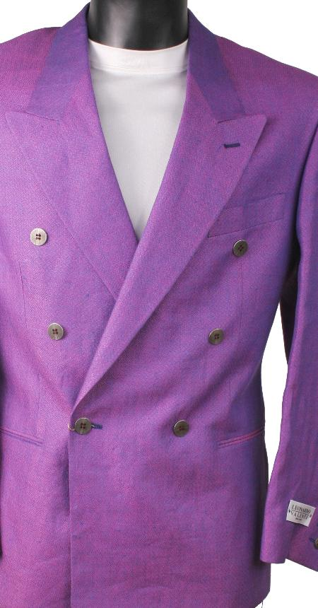SKU#MTL29 Lavender Metallic Jacket / Blazer / Sportcoat 100% Linen Double Breasted Made in Italy $149