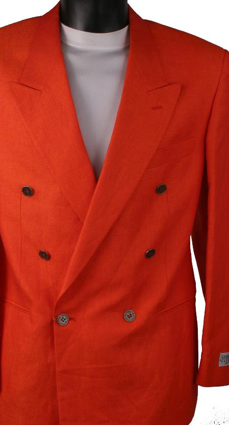 SKU#RE23 Red Metallic Jacket / Blazer / Sportcoat 100% Linen Double Breasted Made in Italy $149