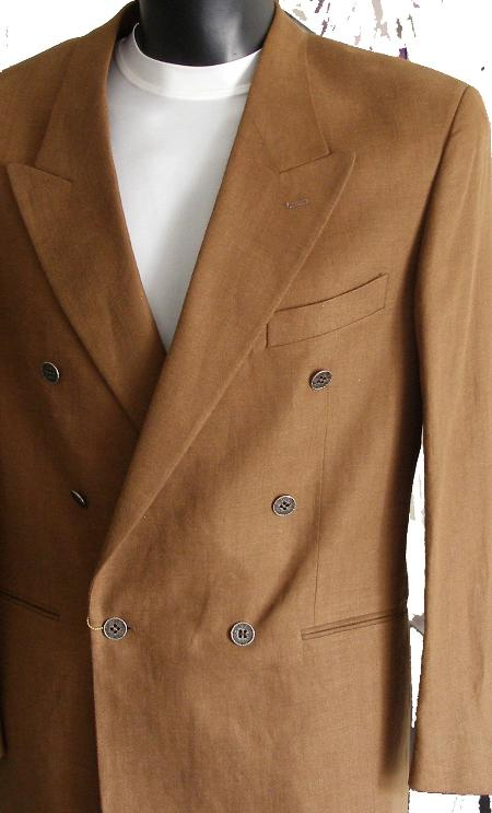 SKU#BM20 Brown Jacket / Blazer / Sportcoat 100% Linen Double Breasted Made in Italy $149