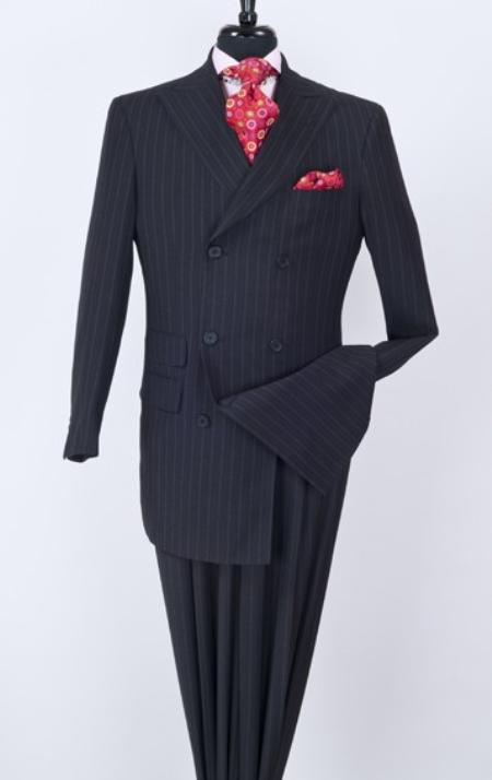 SKU#JK89 Mens 3 Piece Double Breasted Fashion Suit - Double Breasted with a Vest Navy $199