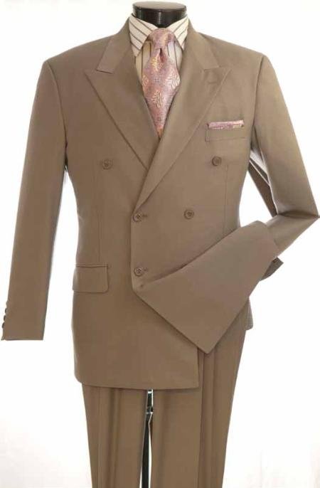 MensUSA.com Mens 2 Piece Double Breasted Executive Suit Heathered Fabric Taupe(Exchange only policy) at Sears.com