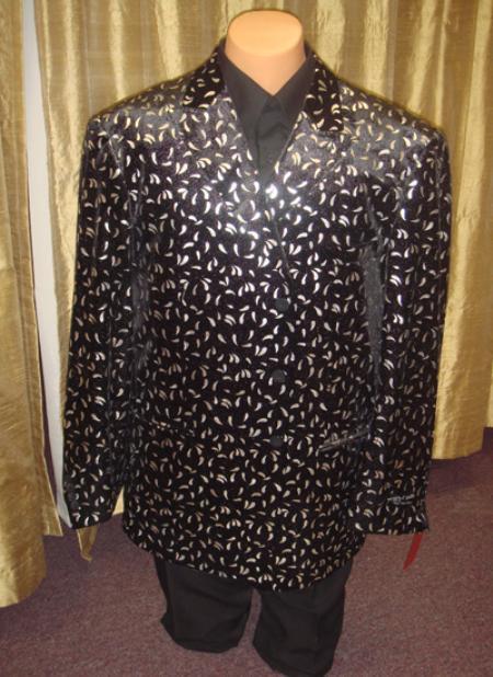 SKU#SLV43 Mens Velvet Blazer/ Jacket in Black/Silver $189