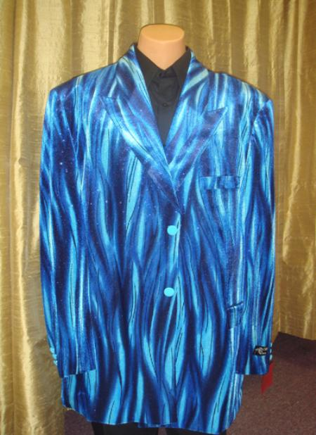 SKU#BB54 Mens Flame Jacket/Blazer in Blue $189